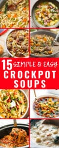 I've been looking for a list of delicious but EASY crockpot soups to make for this chilly winter. This one is perfect! Can't wait to try all of them! #EasyCrockpotSoups #SlowCookerSoupRecipes #WinterSoupRecipes #Crockpot #FamilyFavorites #CheapMeals #CheapRecipes #WinterFood