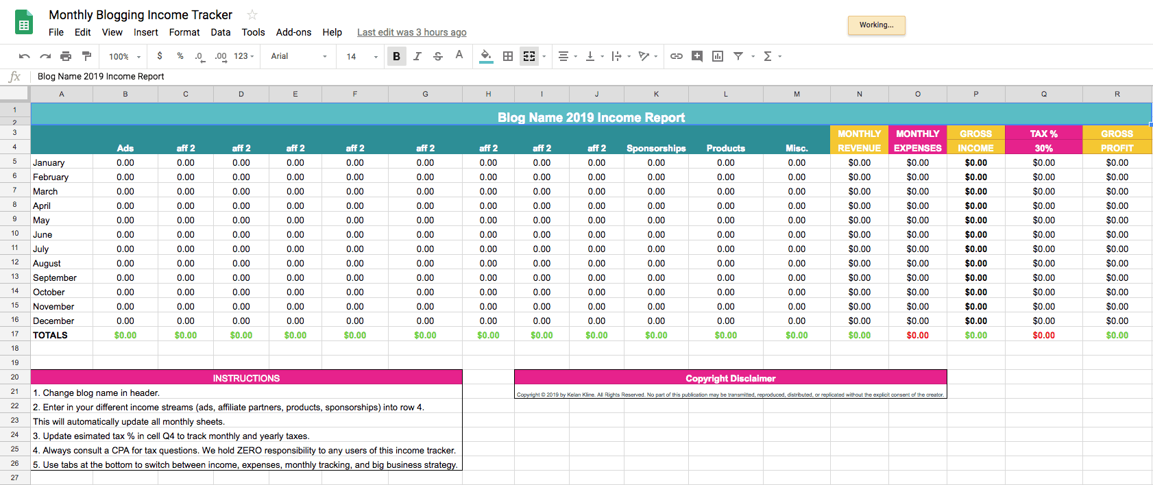 Monthly Blogging Income Tracker