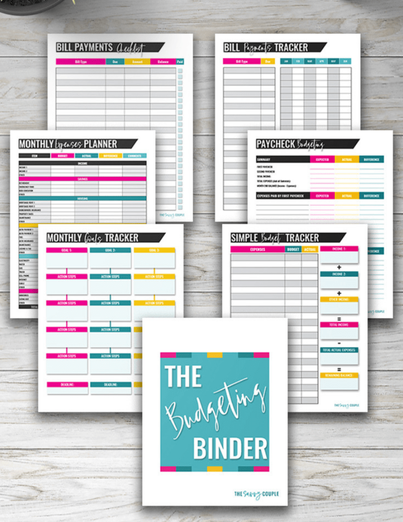 pages of the budgeting binder fanned out to see how they can help you reach financial goals