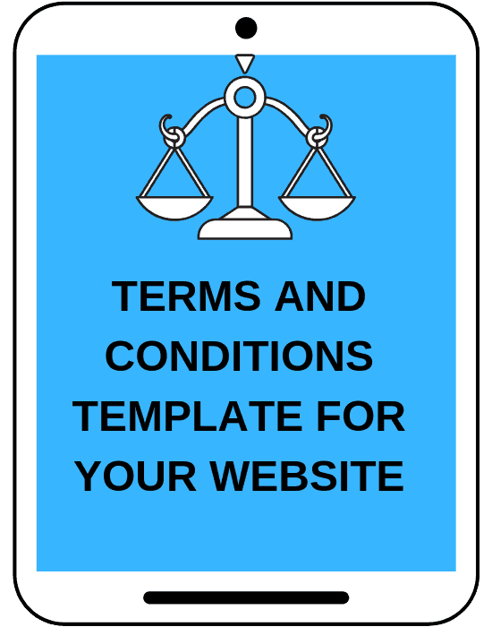 mock tablet screen that says terms and conditions template for your website