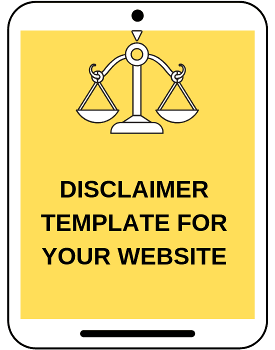 mock tablet screen that says disclaimer template for your website