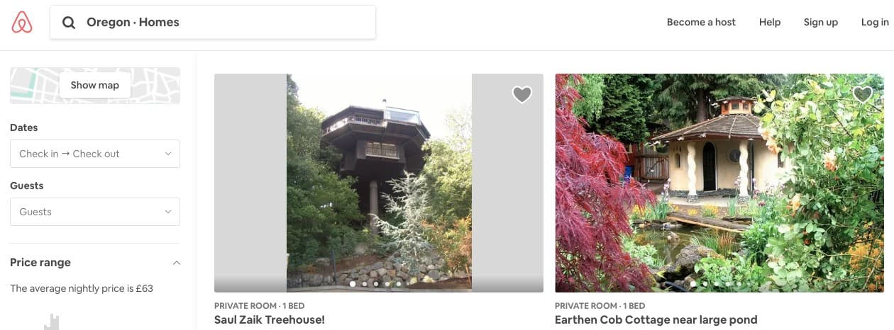screenshot of airbnb search results for Oregon homes