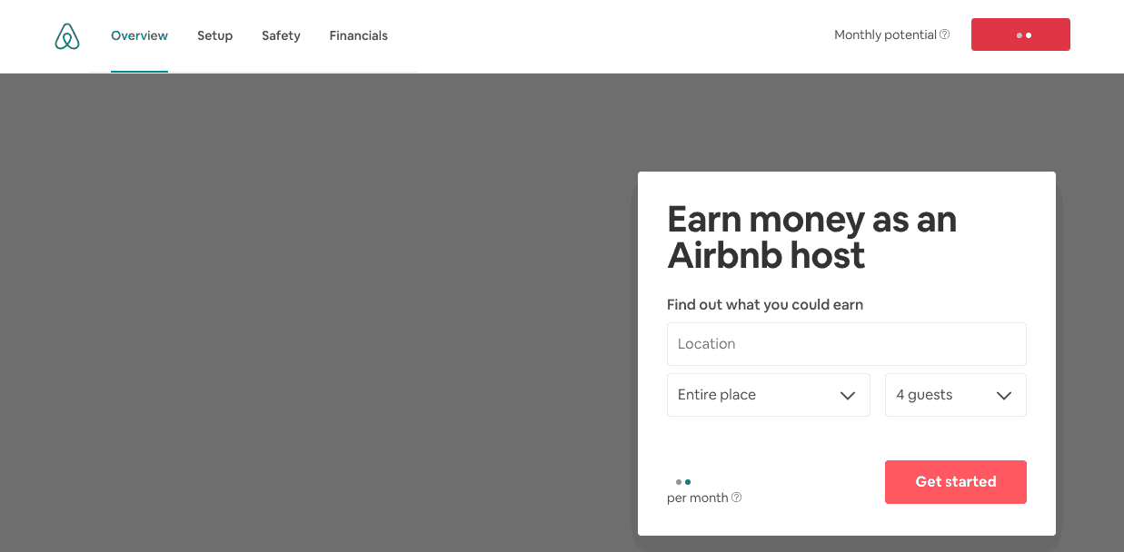 calculate potential earnings airbnb tool screenshot