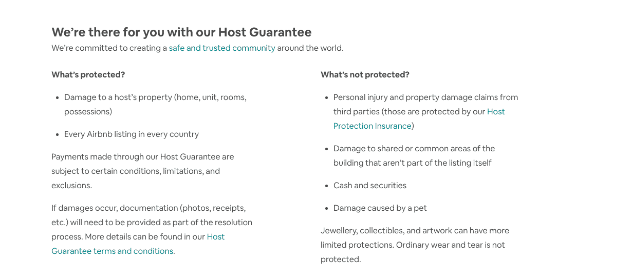 airbnb host guarantee information page