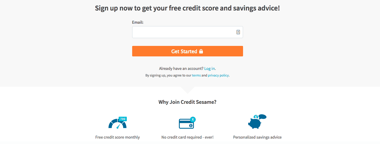 credit sesame sign up page screenshot