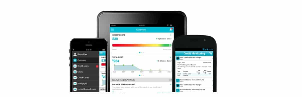 mock smartphone and tablet screens showing data from credit sesame