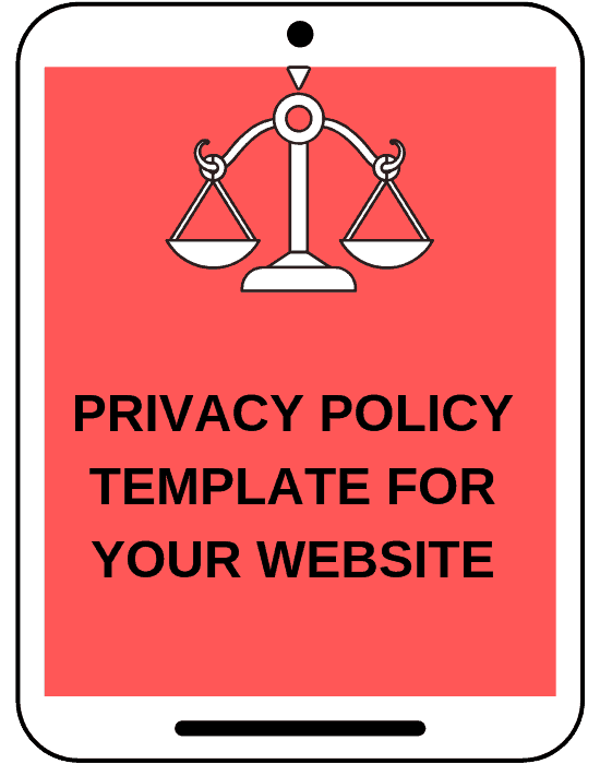 mock tablet screen that says privacy policy template for your website