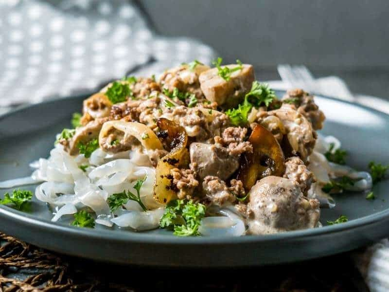 Easy One Pot Keto Ground Beef Stroganoff Cheap Dinner ideas keto