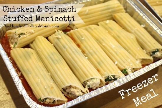 healthy freezer meal chicken and spinach stuffed manicotti