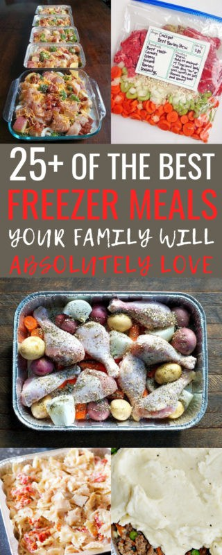 I love this list of easy freezer meals! It's 25+ of the BEST freezer meals to prep ahead of time and make busy weeknights super easy! These meals are SO much better than anything we could get for takeout not to mention the cost savings! I can't wait to take my cooking time down each month, but still feed my family just as well! #EasyFreezerMeals #FreezerMeals #MakeAheadMeals #FreezerCooking #FrozenDinners #HealthyFrozenDinners #HealthyHomemadeMea