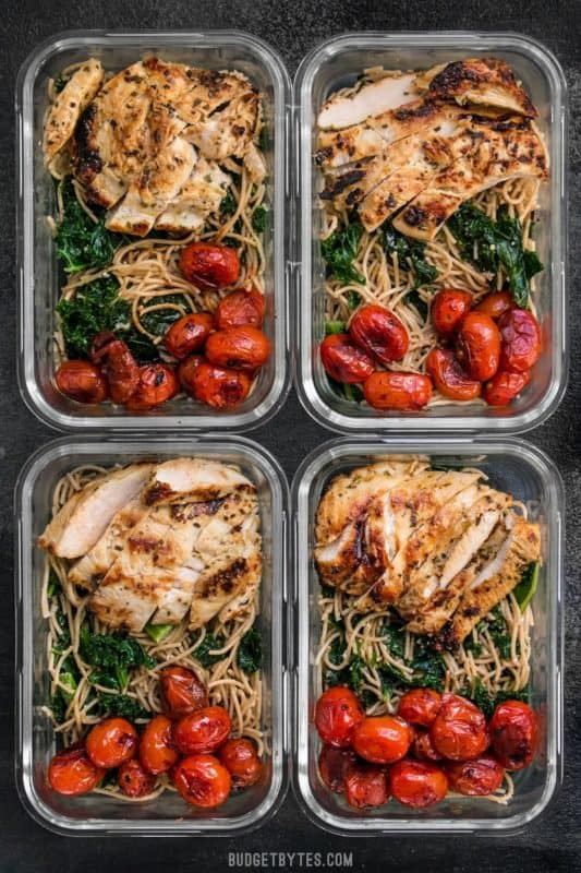garlic parmesan kale pasta meal prep idea