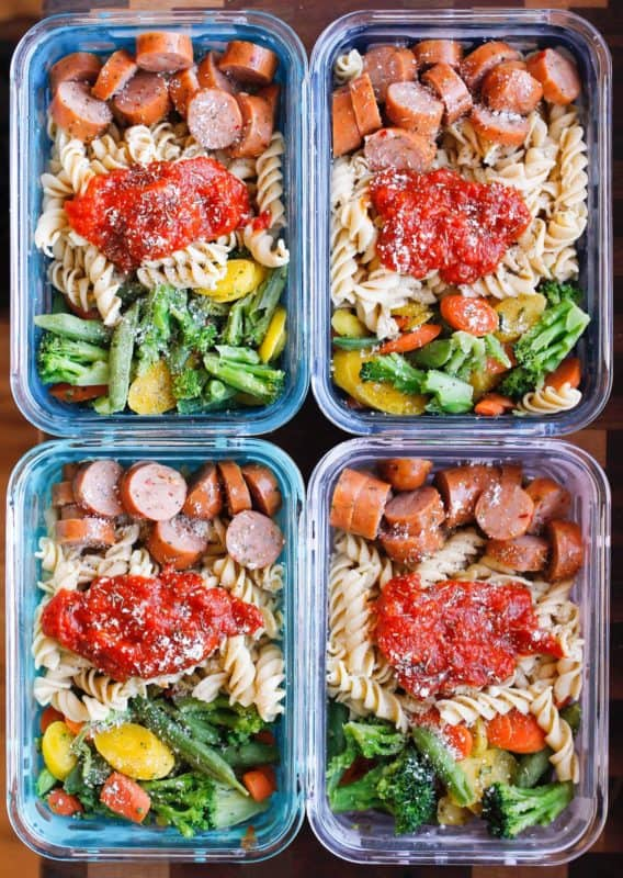 15-MINUTE CHICKEN SAUSAGE PASTA BOWLS MEAL PREP IDEA