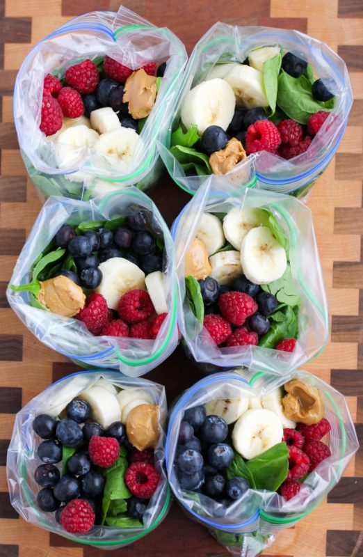 Peanut Butter Green Smoothie Freezer Packs meal prep idea
