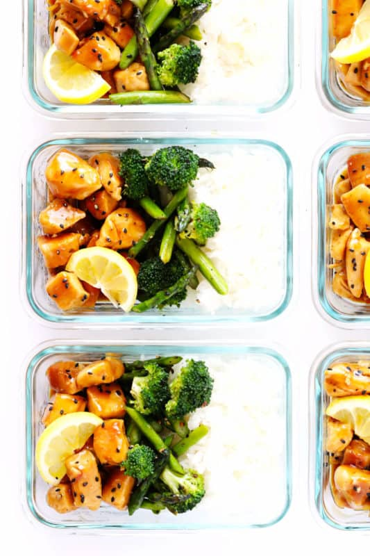 honey lemon chicken bowl with asparagus and broccoli meal prep idea