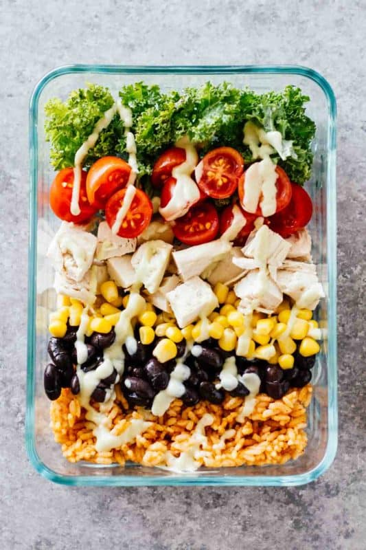meal prep southwest chicken burrito bowls, lunch meal prep ideas