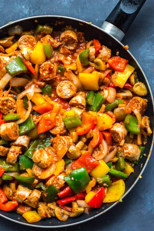 Meal Prep Idea Sausage Peppers and Onions in a skillet