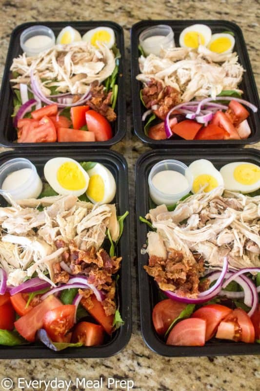 No Cook Meal Prep Idea Chicken Cobb Salad