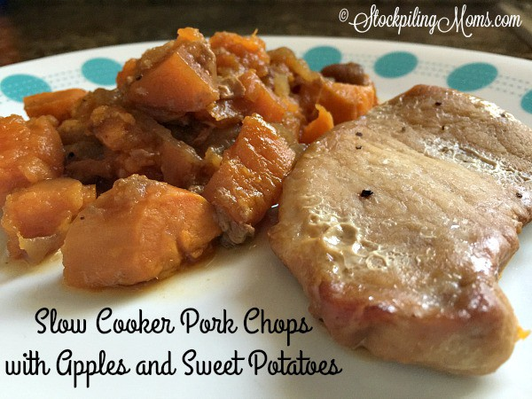 slow cooker pork chops with apples and sweet potatoes easy freezer meal