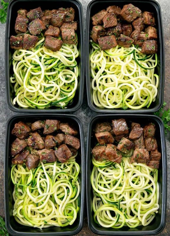 garlic butter steak zucchini noodles meal prep recipe