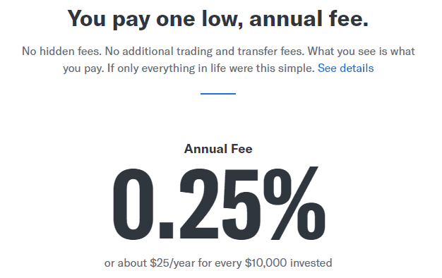 betterment only charged one low, annual fee of 0.25%, or about $25 per year for every $10,000 invested