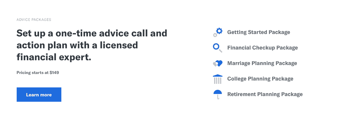 "screenshot to show what the ""advice package"" from betterment offers."