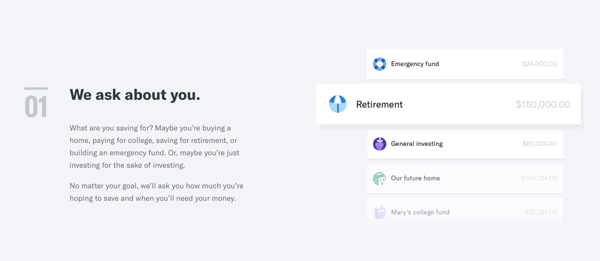 screenshot showing how betterment works, step one they ask for info about you