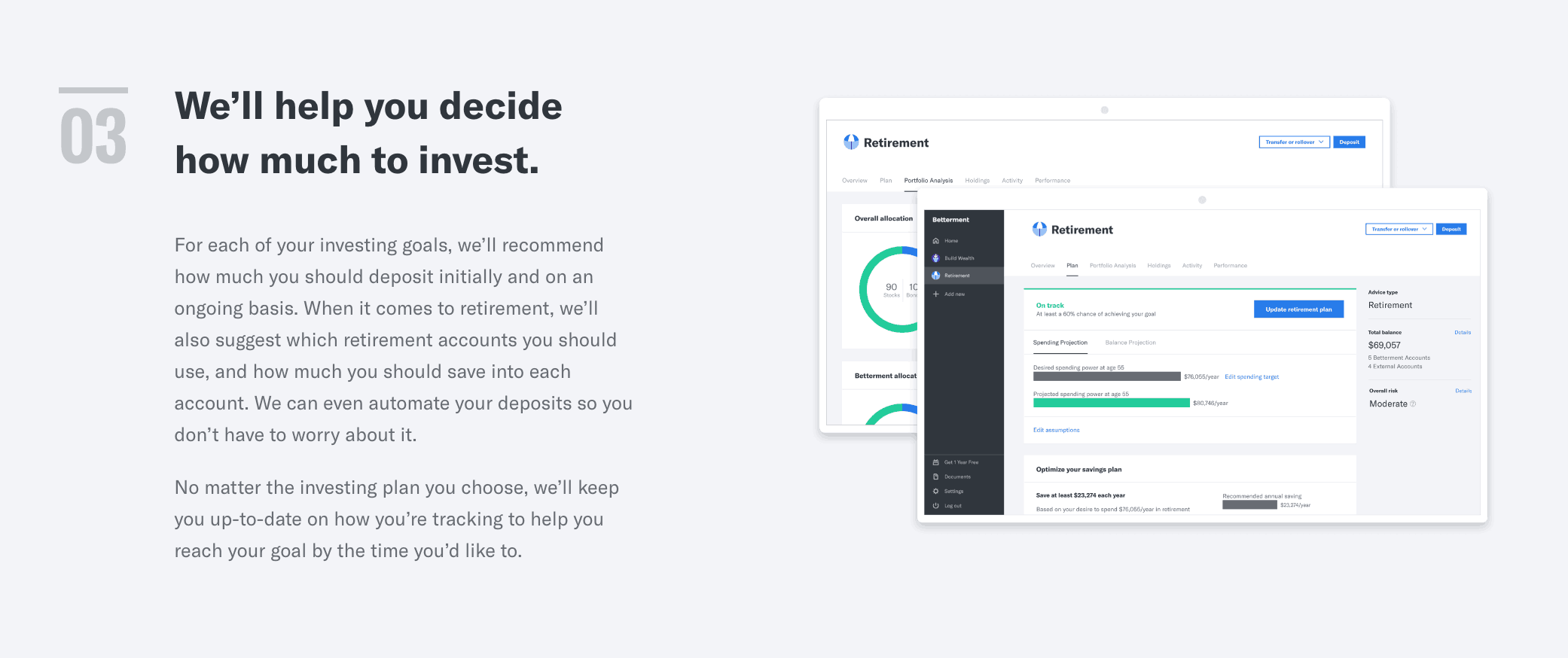 screenshot to show how betterment works, step 3 they help you decide how much to invest