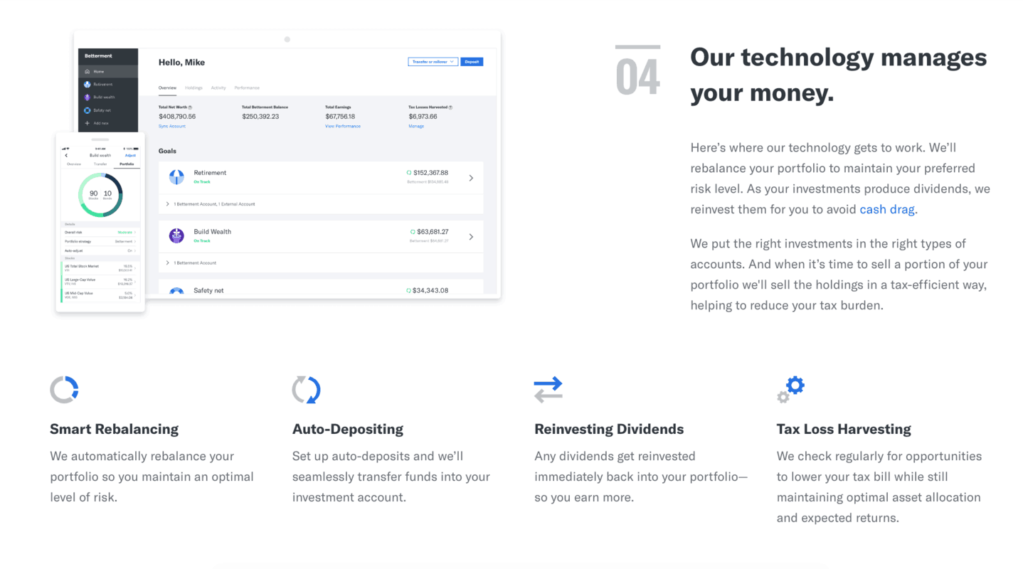 screenshot to show how betterment works, step 4 their technology manages your invested money for you