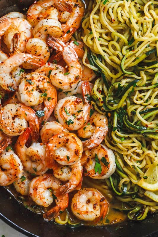 10-Minute Lemon Garlic Butter Shrimp With Zucchini Noodles Meal prep idea