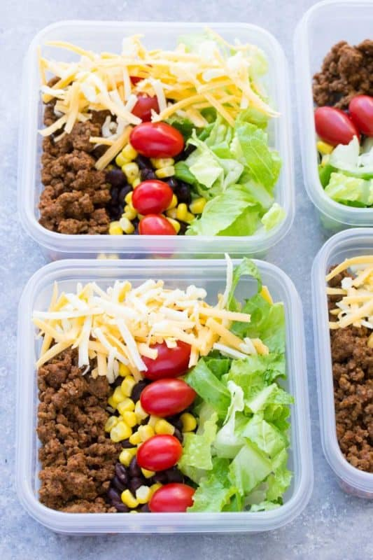 Meal Prep ideas Taco Salad Lunch Bowls