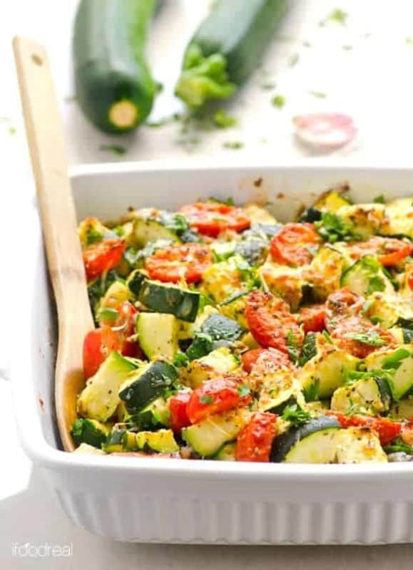 zucchini bake with tomatoes, garlic, and parmesan cheap dinner ideas without meat vegan healthy