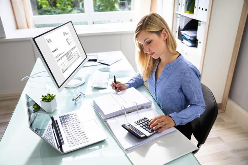woman working on home-based bookkeeping business