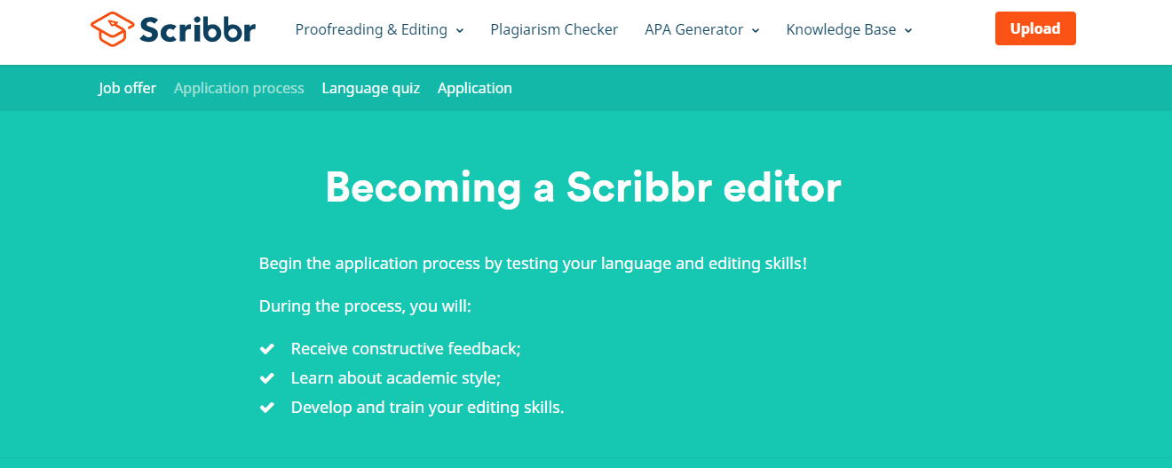 Scribbr Screenshot for Online Proofreading Jobs