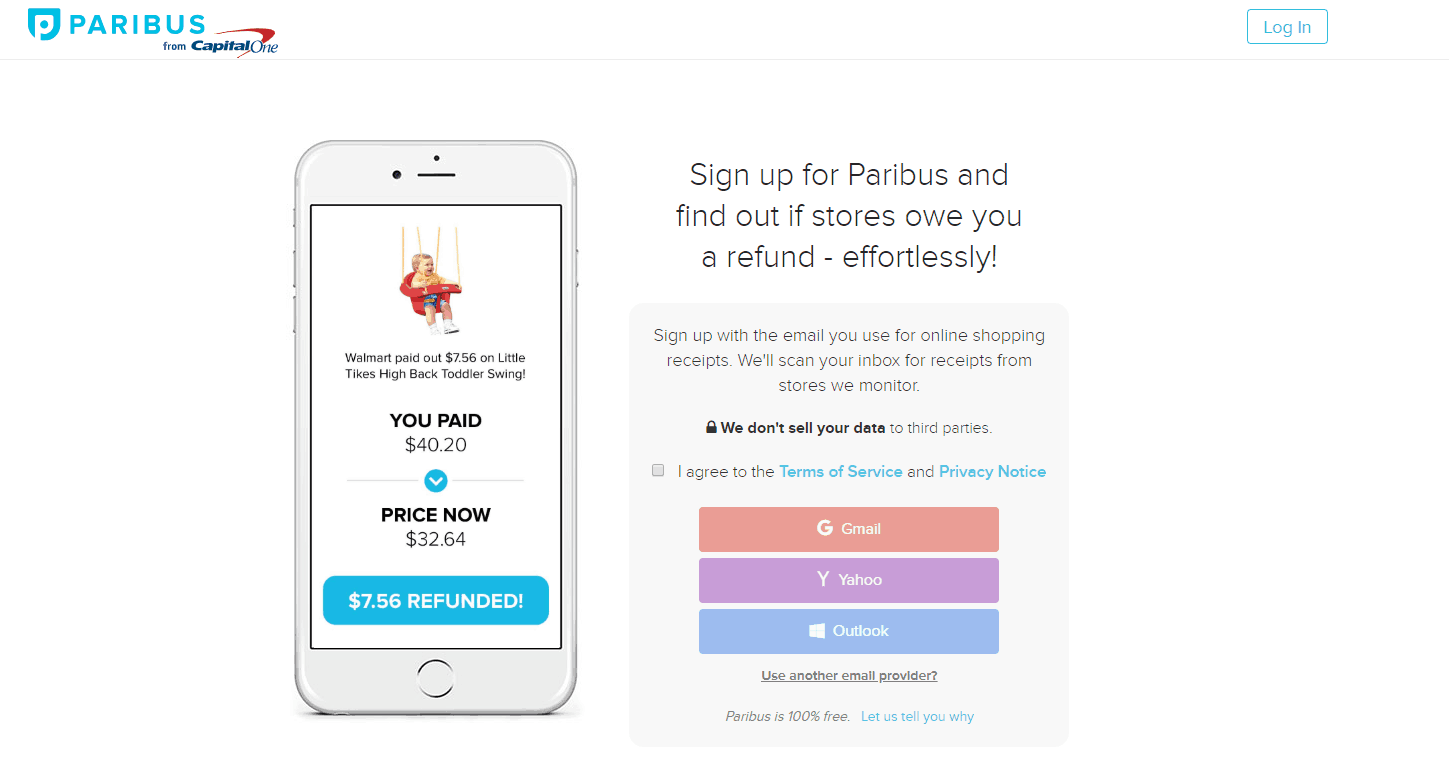 Sign up with Paribus today screenshot