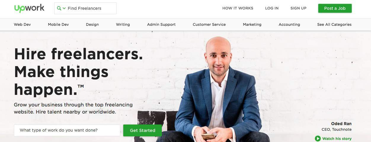 Upwork screenshot for Online Proofreading Jobs