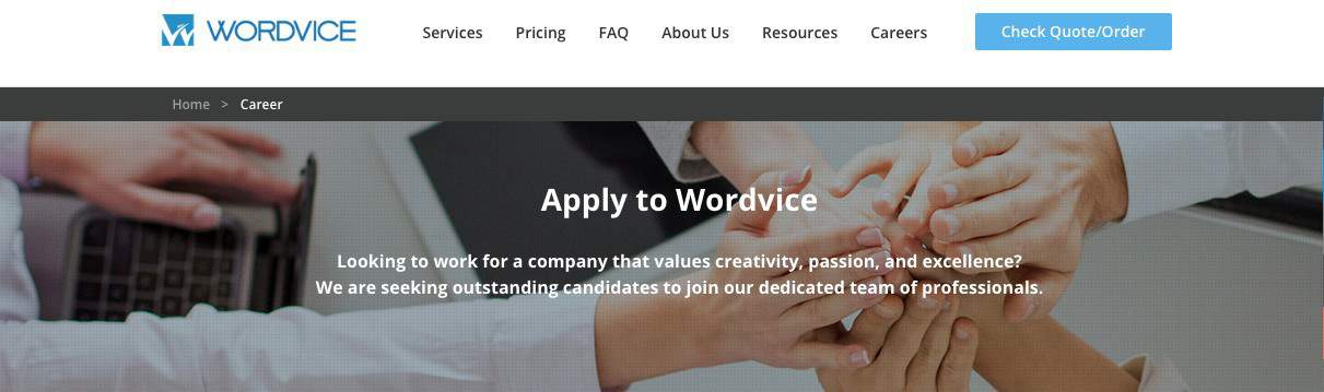Wordvice Screenshot for Online Proofreading Jobs