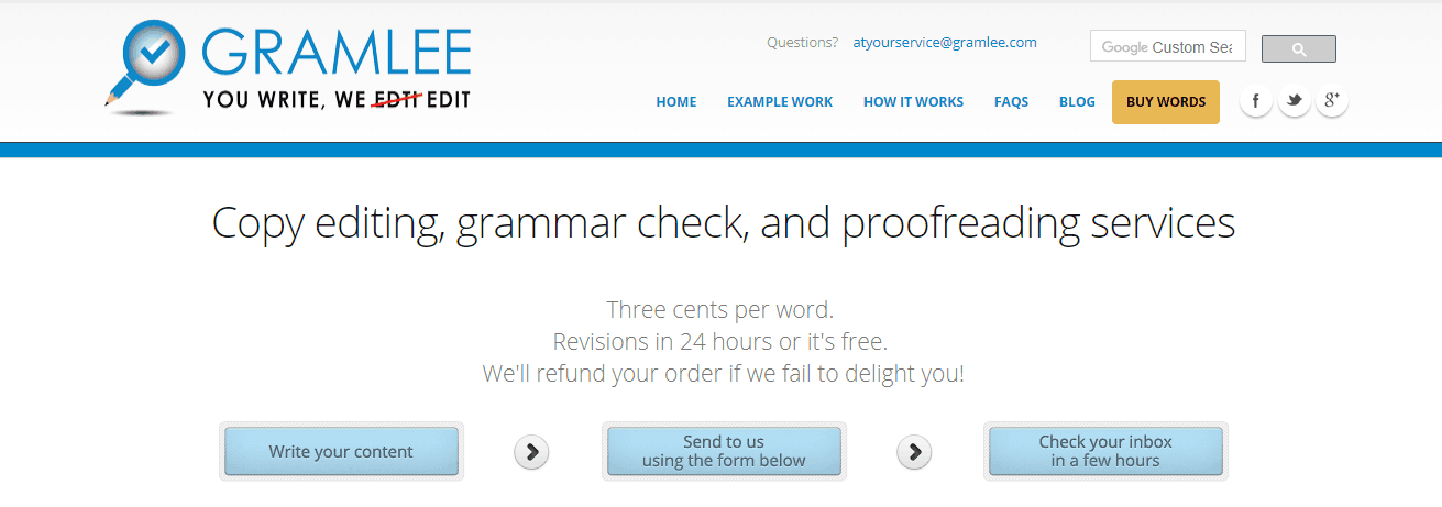 Gramless Screenshot for Online Proofreading Jobs