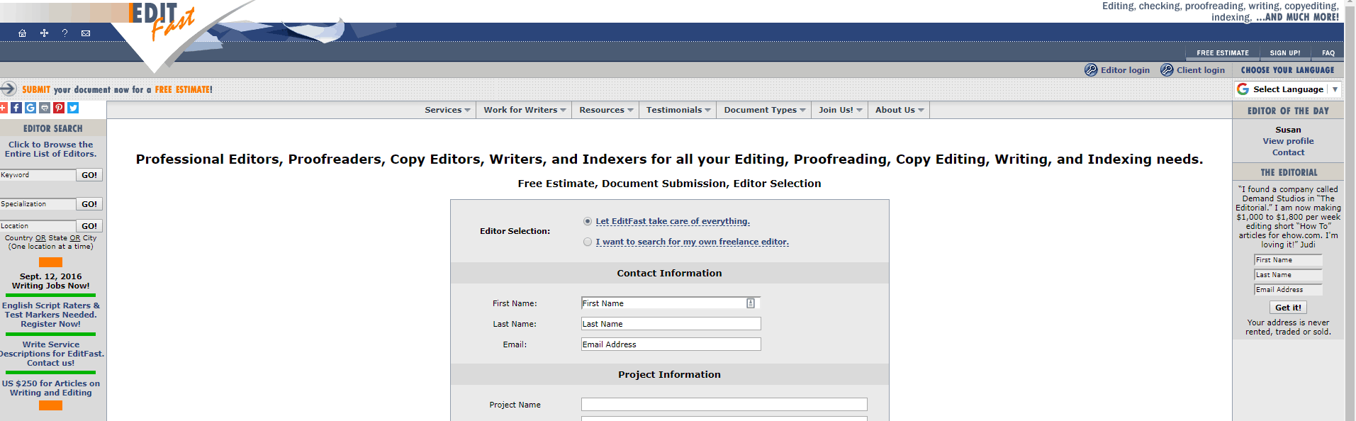 Edit Fast Screenshot for Online Proofreading Jobs