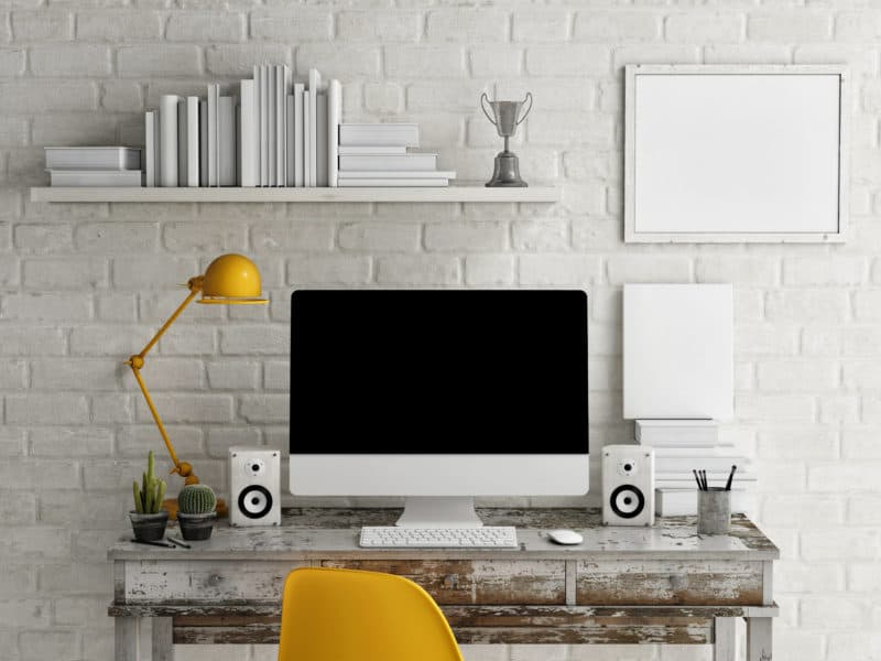neat and tidy minimalist living home office workspace