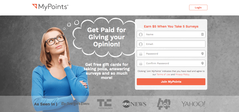 MyPoints Paid Online Surveys Dashboard