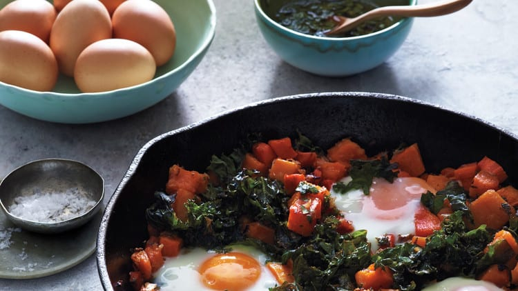 low carb recipes squash kale and baked eggs