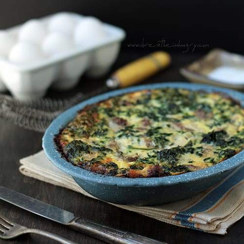 sausage, spinach, and feta frittata low carb recipe breakfast