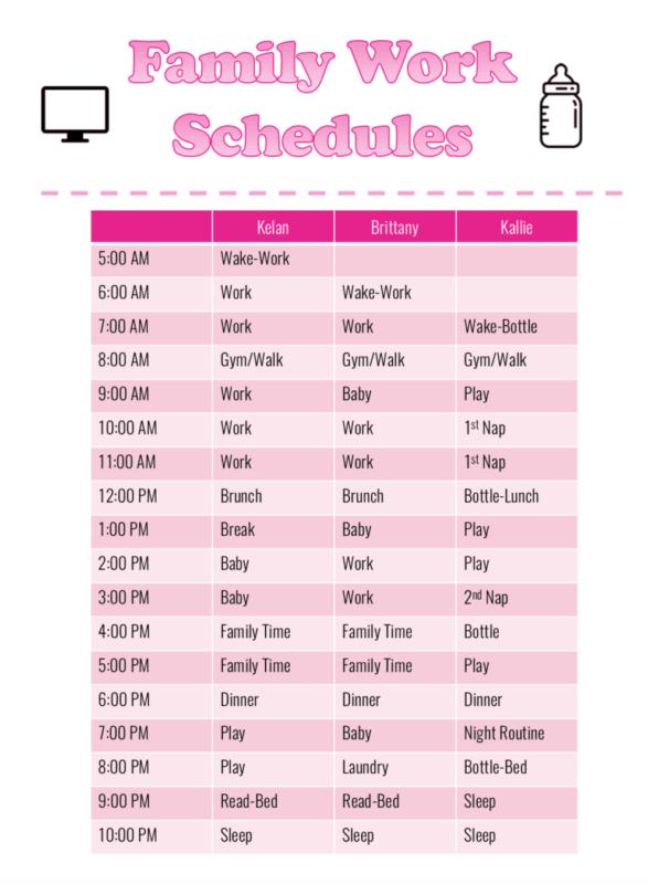 Family work schedule