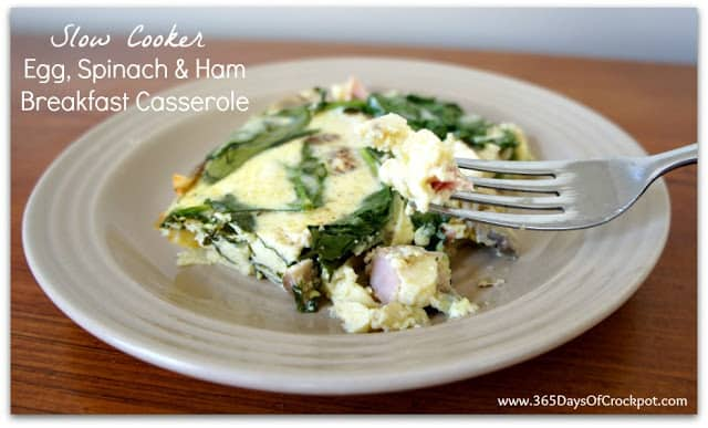 egg spinach and ham casserole breakfast crockpot recipes