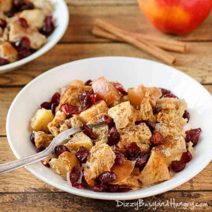 slow cooker apple cranberry french toast breakfast crockpot recipe