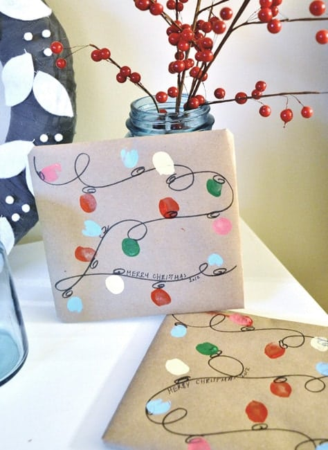 hand painted christmas lights paper fun gift wrapping idea