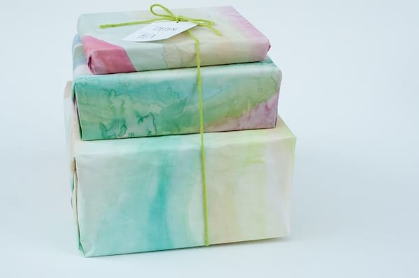 watercolor paper custom gift wrapping idea
