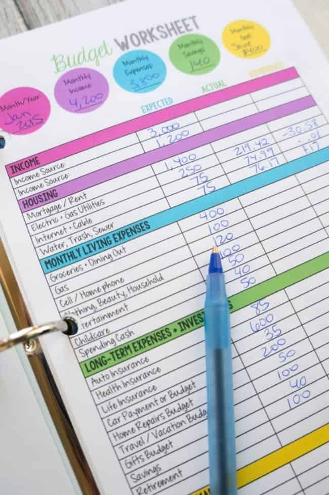 Family Budget worksheet in use