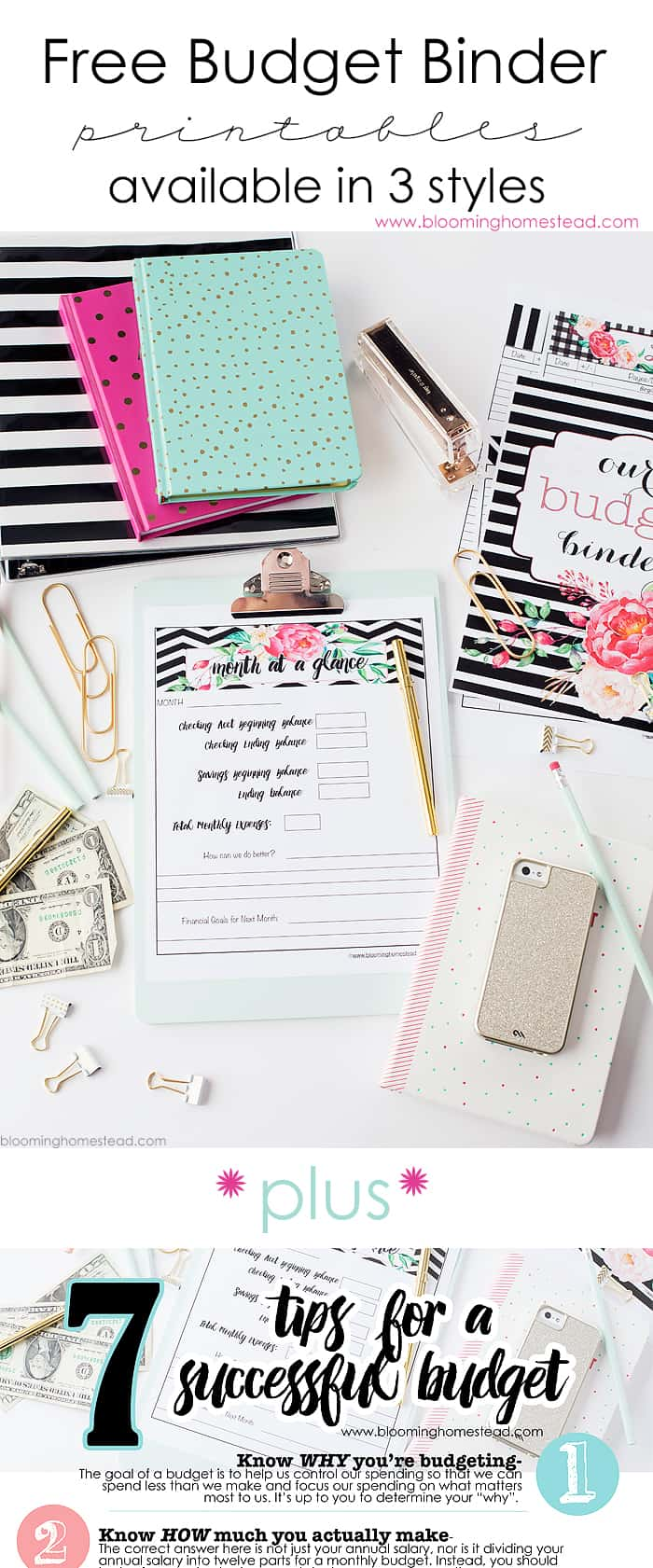 Free Budget Binder Printables plus 7 tips for a successful budget available at Blooming Homestaed