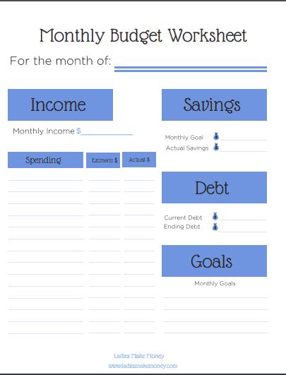 Free Pintable budget template